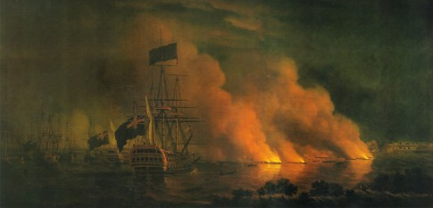 French Fire Rafts Attacking the English Fleet off Quebec, 28 June 1759
