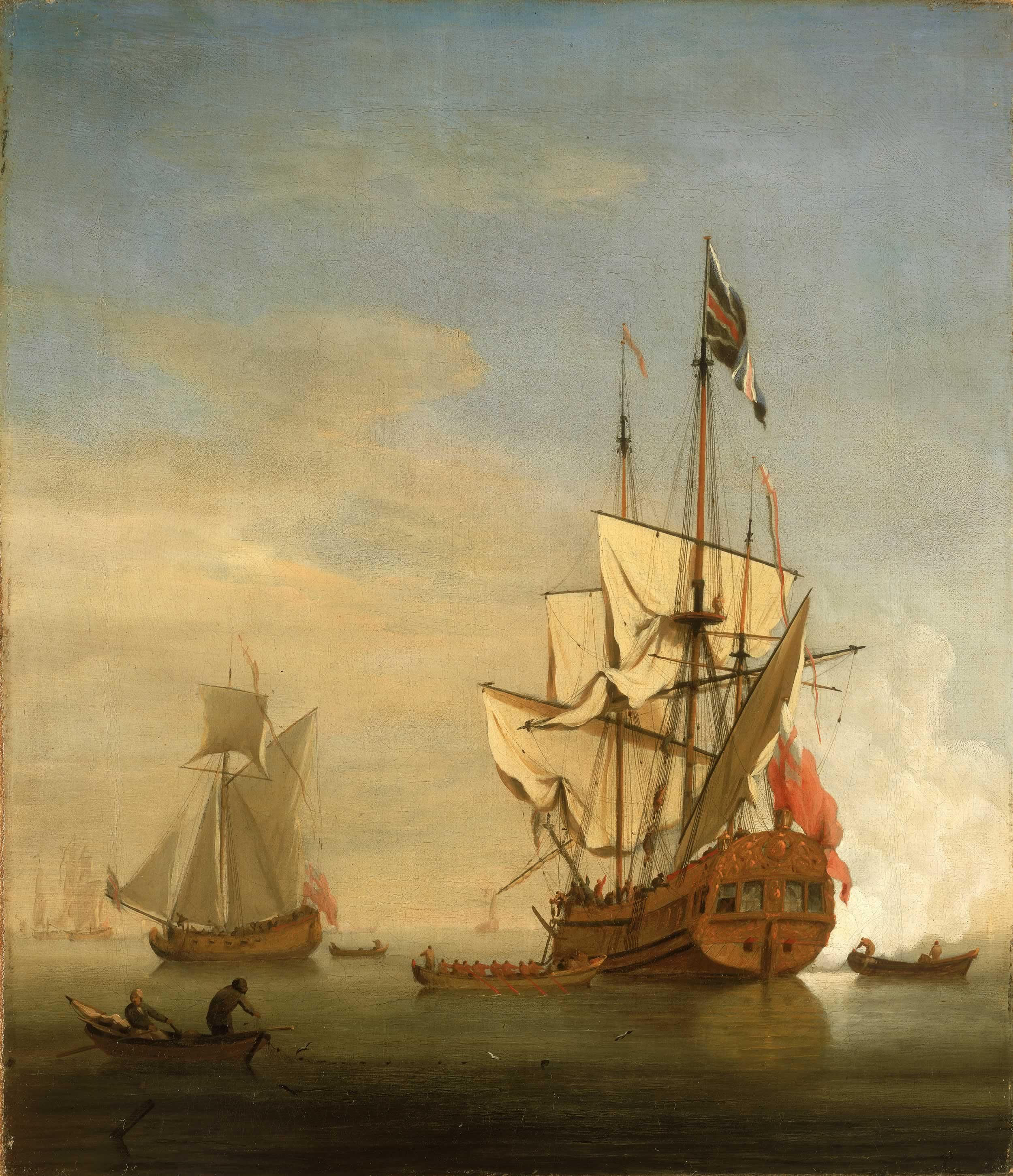 an english sixth rate ship firing a salute as a barge leaves a an english sixth rate ship firing a salute as a barge leaves a royal