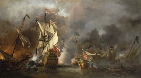 An English Ship in Action with Barbary Vessels