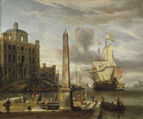 Italianate Harbour View with a Fantasy Building and Man-of-War