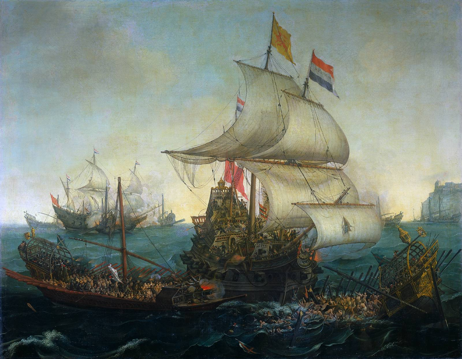 dutch-ship-running-down-spanish-gallyes.