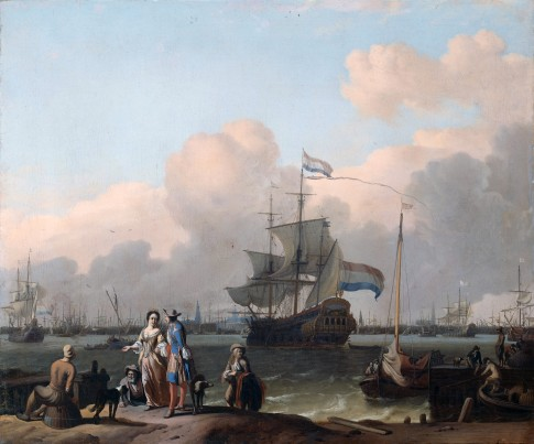 "The Frigate ""De Ploeg"" on the Ij in Amsterdam"