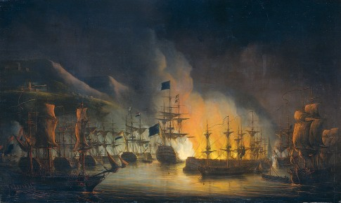 The bombing of Algiers, to support the ultimatum to release white slaves, 26-27 augustus 1816