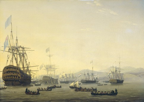 Council of war aboard the 'Queen Charlotte' held by Lord of Exmouth before the bombing of Algiers, August 26, 1816