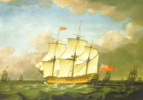 The Victory leaving the Channel in 1793 by Monamy Swaine