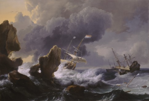 Dutch Ships in Distress off a Rocky Coast Backhuysen Ludoph