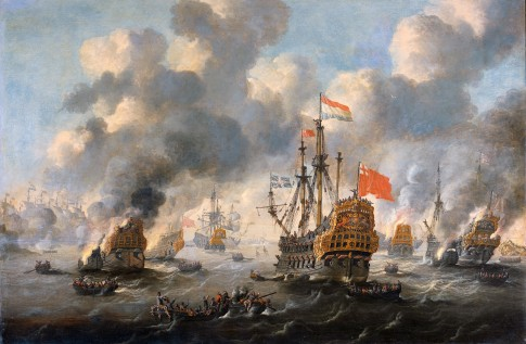 The Dutch burn down the English fleet before Chatham - June 20 1667 (Peter van de Velde)
