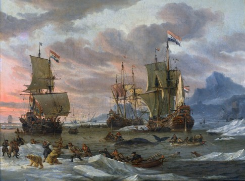 Abraham Storck Dutch Whalers off a Rocky Coast