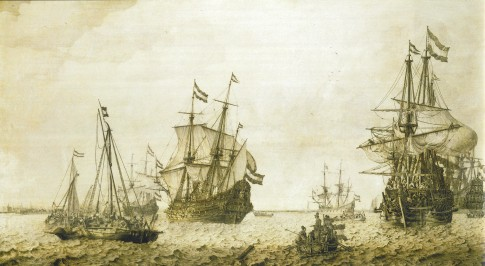 Ships in the Roads of Amsterdam by Ludolph Backhuysen