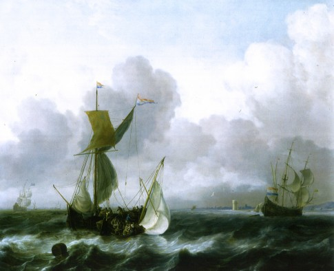 The Merchant Shipping Anchorage Southwest of Texel, by Ludolph Backhuysen