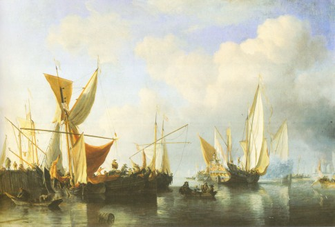 Boats in a Harbour and a Yacht Sailing Away by Willem van de Velde the Younger