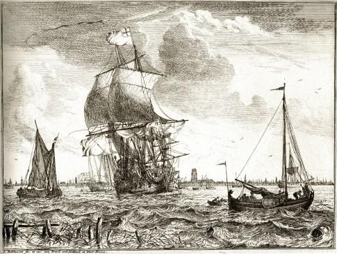 Scheepwart op de Maas bij Rotterdam